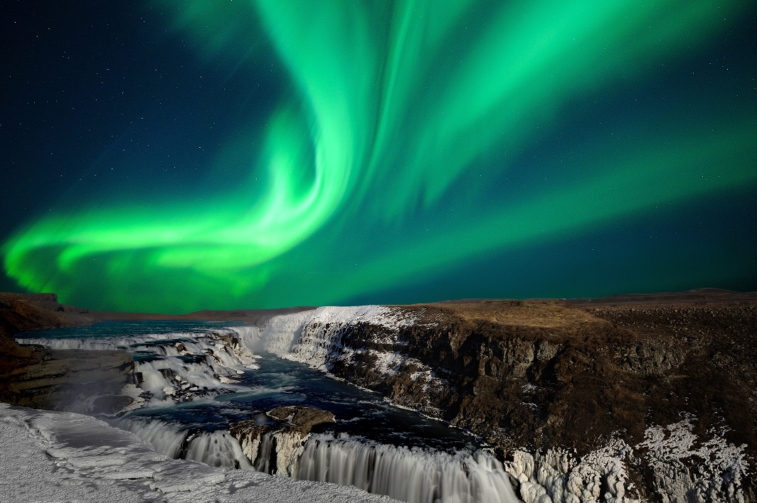 Aurora at Gulfoss Waterfall in Iceland by Thorir Iceland IPT
