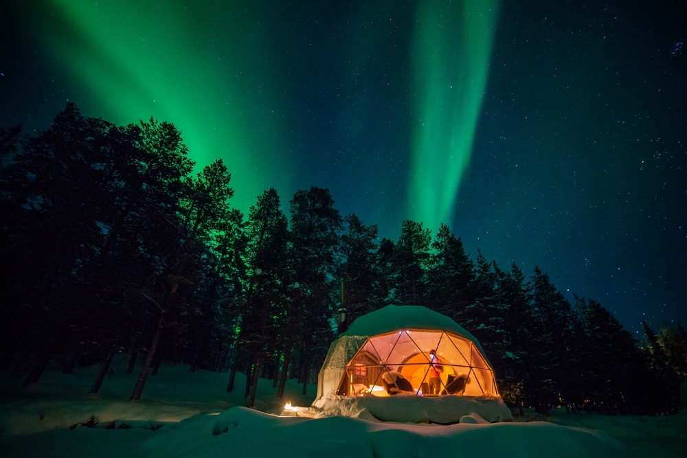Northern Lights from an Aurora Bubble or Glass Igloo