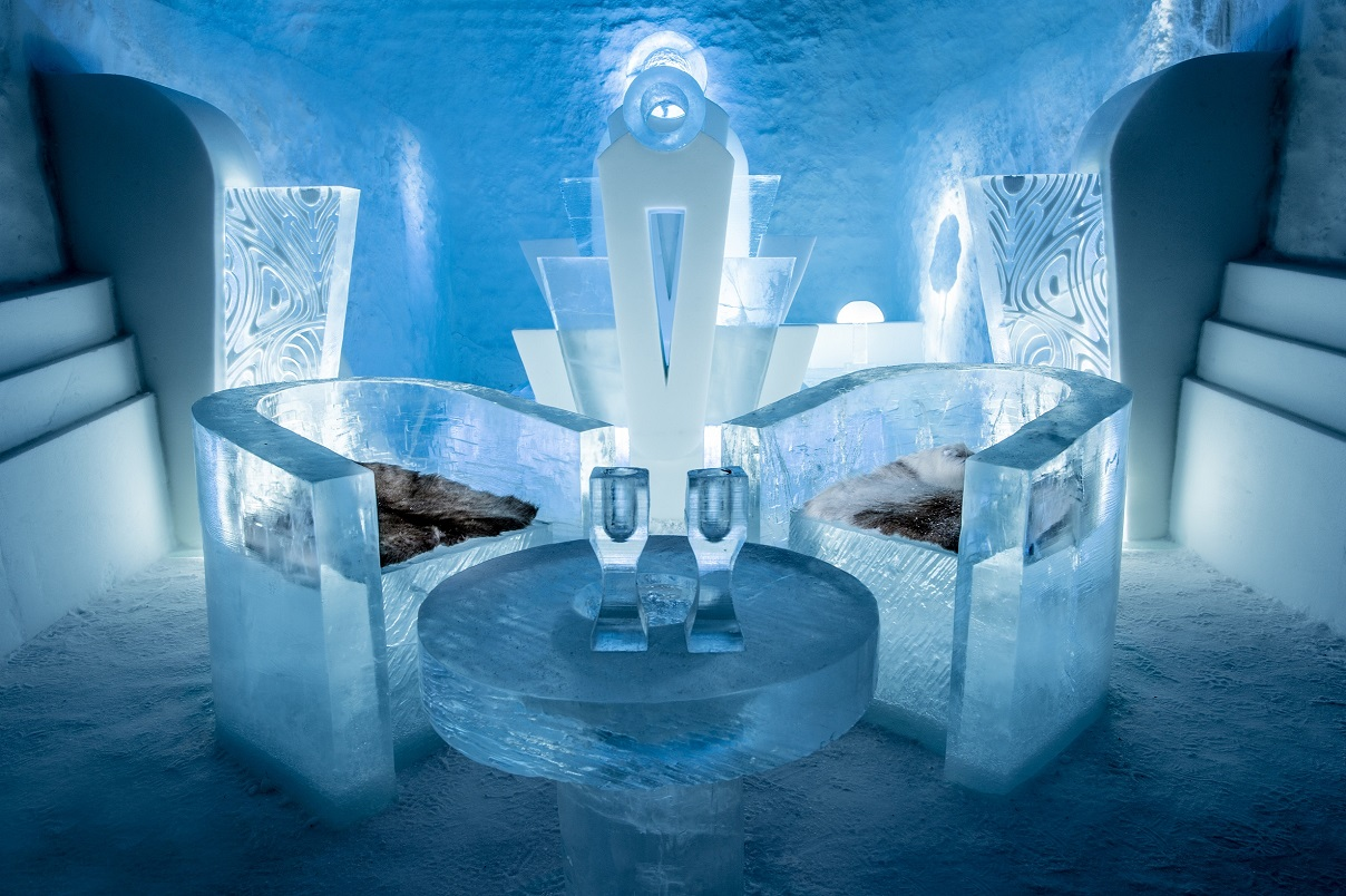 Deluxe Suite at Sweden's ICEHOTEL featuring Once Upon A Tim Design by Luc Voisin - Photo by Mathieu Brison Asaf Kliger