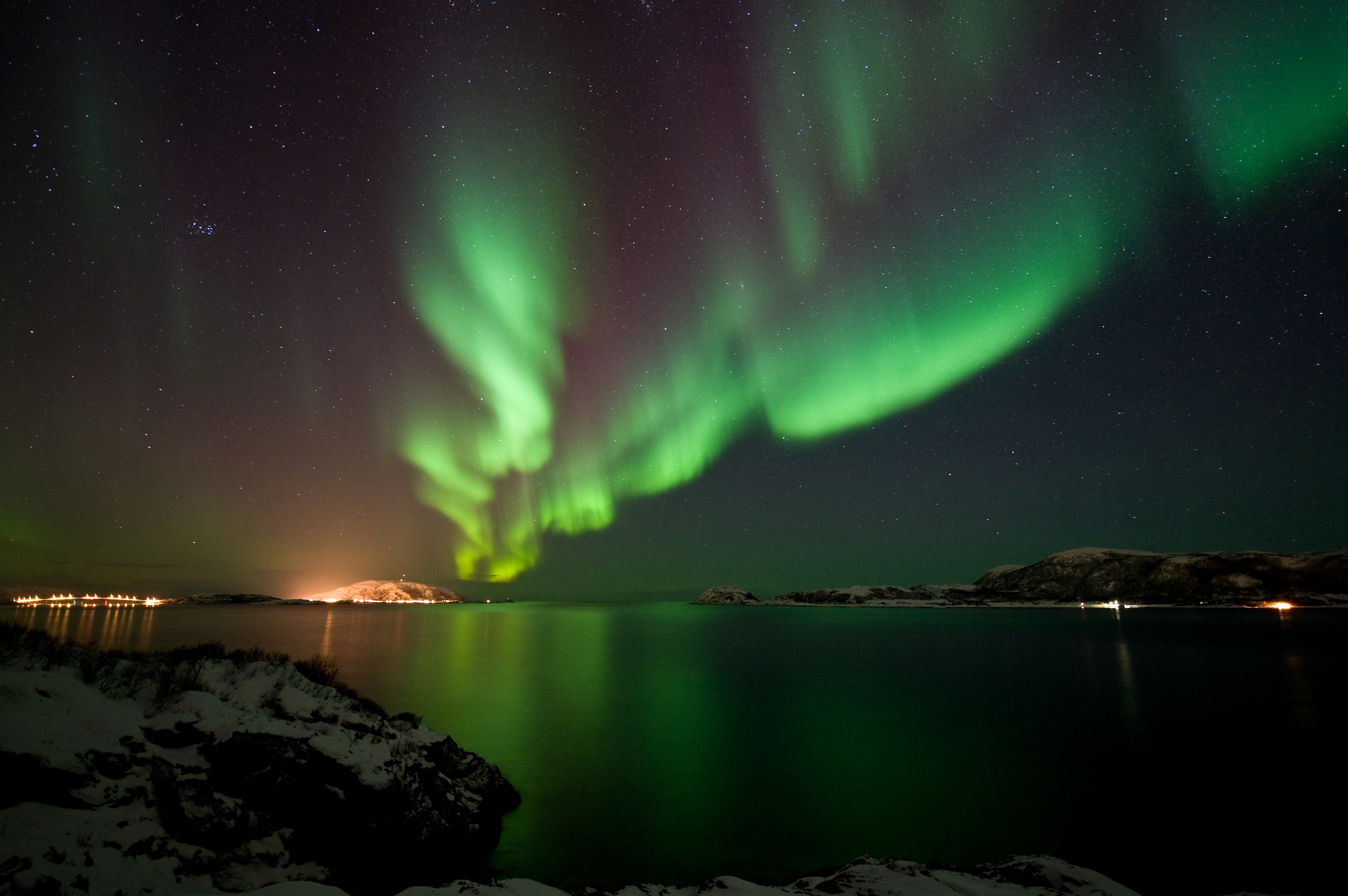 Northern Lights at Otervika Kvaloya 05.02.2015 Copyright Gaute Bruvik Visitnorway.com credit Innovation Norway 2