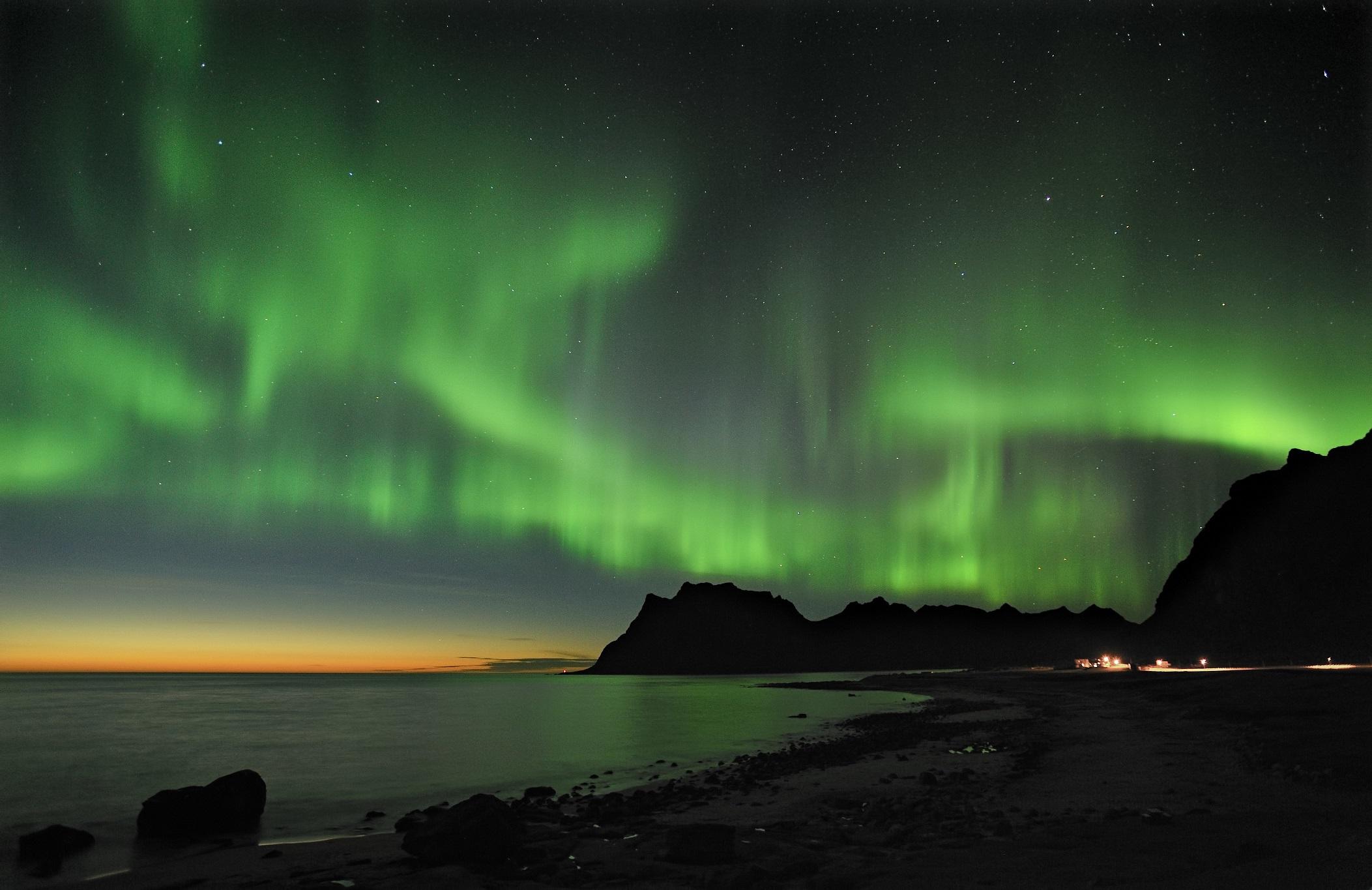 Northern light Aurora borealis over sea 05.02.2015 2 2 2